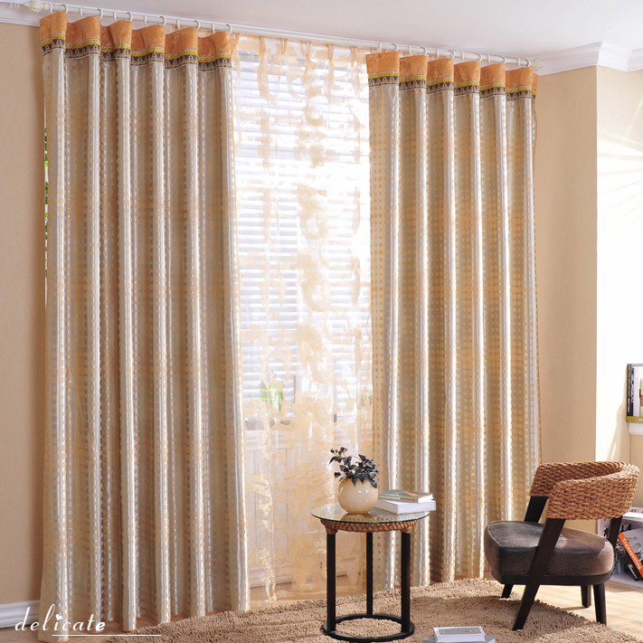 Heavy-Blackout-Polka-Dot-and-Striped-Curtains-in-Champagne-Two-Panels-C1080