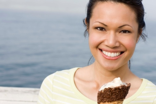 Woman-eating-ice-cream-cone